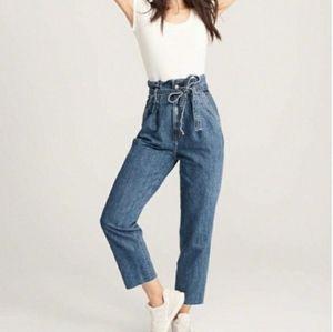 Abercrombie & Fitch Mom Jeans Tie Waist Size 28